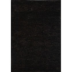 Hand-knotted Vegetable Dye Solo Liquorice Hemp Rug (2'6 x 10')