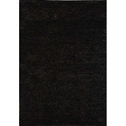 Hand-knotted Vegetable Dye Solo Liquorice Hemp Rug (8' x 10')