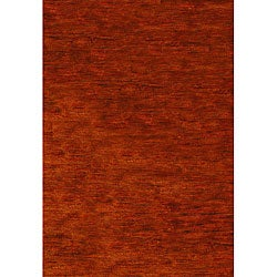 Hand-knotted Vegetable Dye Solo Rust Hemp Rug (3' x 5')