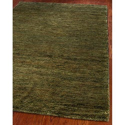 Hand-knotted Vegetable Dye Solo Green Hemp Runner (2'6 x 6')