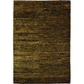 Hand-knotted Vegetable Dye Solo Green Hemp Runner (2'6 x 8')