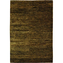 Hand-knotted Vegetable Dye Solo Green Hemp Rug (3' x 5')