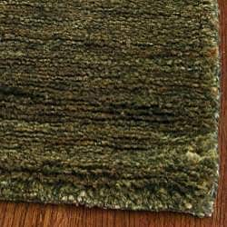 Hand-knotted Vegetable Dye Solo Green Hemp Rug (4' x 6')
