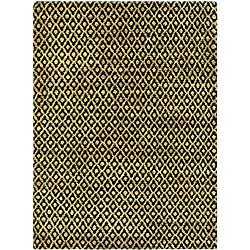 Hand-knotted Vegetable Dye Morocco Black/ Gold Hemp Rug (3' x 5')