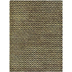 Hand-knotted Vegetable Dye Morocco Black/ Gold Hemp Rug (4' x 6')