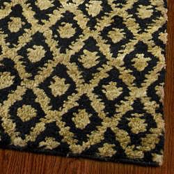 Hand-knotted Vegetable Dye Morocco Black/ Gold Hemp Rug (6' x 9')