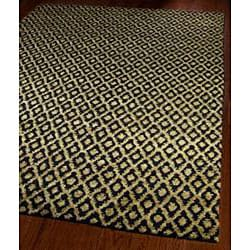 Hand-knotted Vegetable Dye Black/ Gold Rug (8' x 10')