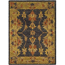 Hand-knotted Heirloom Charcoal Jute Rug (4' x 6')