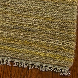Hand-knotted All-Natural Horizons Gold Hemp Rug (6' x 9')