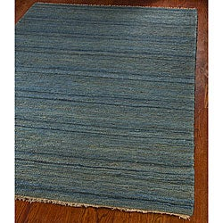 Hand-knotted All-Natural Oceans Blue Hemp Runner (2'6 x 10')
