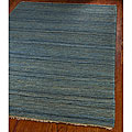 Hand-knotted All-Natural Oceans Blue Hemp Runner (2'6 x 12')