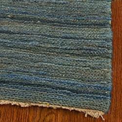 Hand-knotted All-Natural Oceans Blue Hemp Rug (6' x 9')