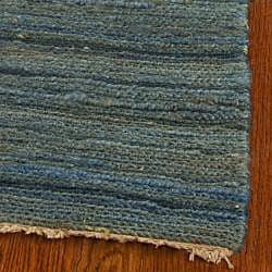 Hand-knotted All-Natural Oceans Blue Hemp Rug (9' x 12')