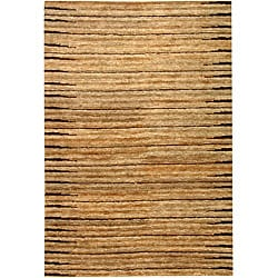 Hand-knotted All-Natural Fields Beige Hemp Rug (4' x 6')