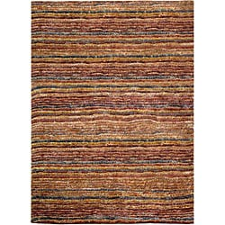 Hand-knotted All-Natural Striped Red/ Multi Rug (5' x 8')