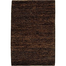Hand-knotted All-Natural Earth Brown Hemp Rug (3' x 5')