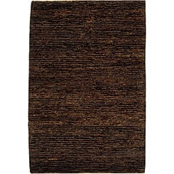 Hand-knotted All-Natural Earth Brown Hemp Rug (4' x 6')
