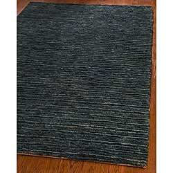 Hand-knotted All-Natural Charcoal Grey Hemp Rug (4' x 6')