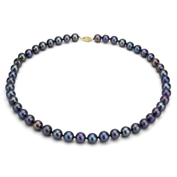 DaVonna 14k Gold Cultured Black FW Pearl Necklace (6.5-7 mm/ 24 in)