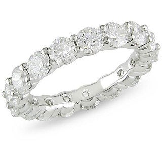 Miadora 18k White Gold 5ct TDW Certified Diamond Eternity Ring (G-H, I1)