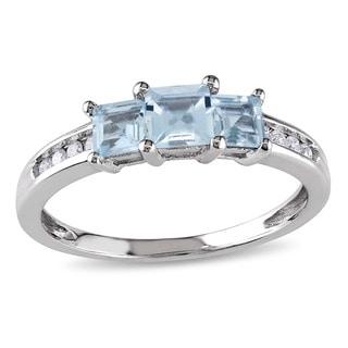 Miadora 10k White Gold Aquamarine and 1/10ct TDW Diamond Ring (H-I, I2-I3)