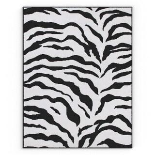 nuLOOM Zebra Animal Print Black/ Ivory Rug (4' x 5'7)