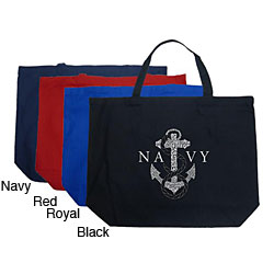 Los Angeles Pop Art Navy Large Shopping Tote