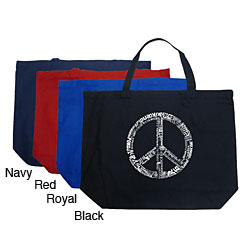 Los Angeles Pop Art Large 100-percent Cotton Peace Sign Tote Bag