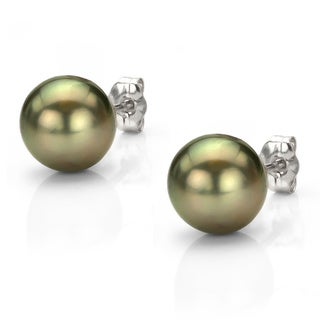 DaVonna 14k Gold Black Tahitian Cultured Pearl Stud Earrings (9-9.5 mm)
