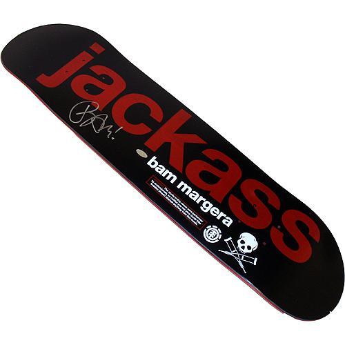 Bam Margera Autographed Jackass Logo Skateboard Deck