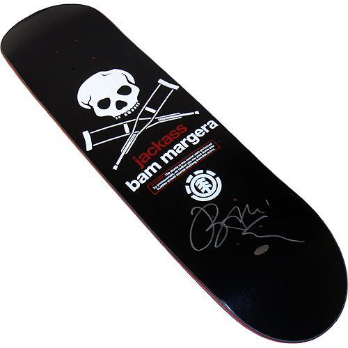 Bam Margera Jackass Skull/ Crutches Autographed Skateboard Deck