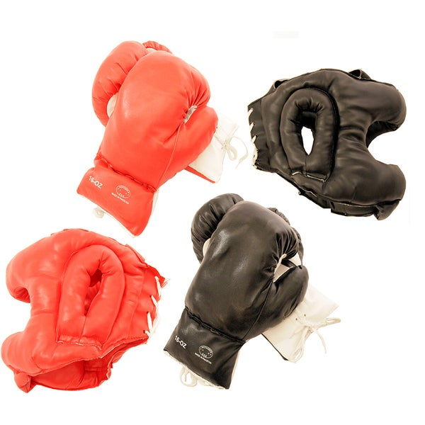 Adult-sized Buffed-PVC Boxing Gloves and Head Gear (Set of Two)