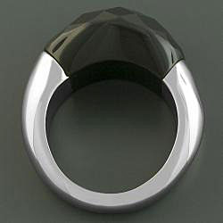 Handcrafted Stainless Steel Faceted Black Onyx Ring (China)