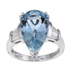 Kabella 18k Gold Aquamarine and 3/8ct TDW Diamond Ring (G-H, VS2-SI1)