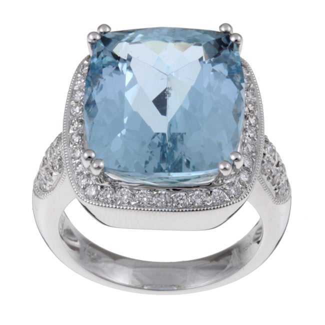 Kabella 18k Gold Aquamarine and 3/5ct TDW Diamond Ring (G-H, VS2-SI1)