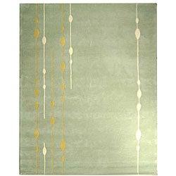 Handmade Soho Vines Mint Green New Zealand Wool Rug (8'3 x 11')