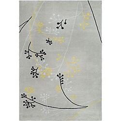 Handmade Soho Golden Vine Grey New Zealand Wool Rug (6' x 9')