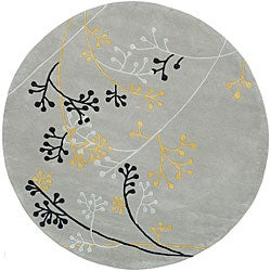Handmade Soho Golden Vine Grey New Zealand Wool Rug (6' Round)