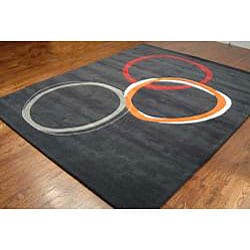 Safavieh Handmade Soho Circles Charcoal Grey N. Z. Wool Rug (8' Square)