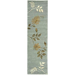 Handmade Soho Twigs Light Blue N. Z. Wool Runner (2'6 x 10')