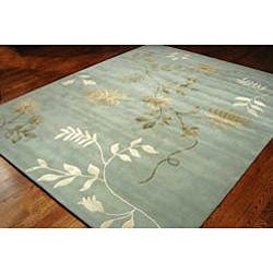 Handmade Soho Twigs Light Blue New Zealand Wool Rug (8' Square)