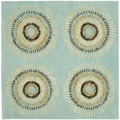 Handmade Deco Explosions Light Blue N. Z. Wool Rug (6' Square)
