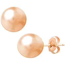 Fremada 14k Gold 8 mm Ball Earrings (White, Pink, or Yellow)
