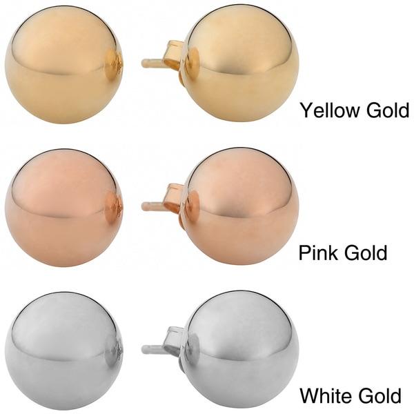 Fremada 14k Gold 8mm Ball Stud Earrings