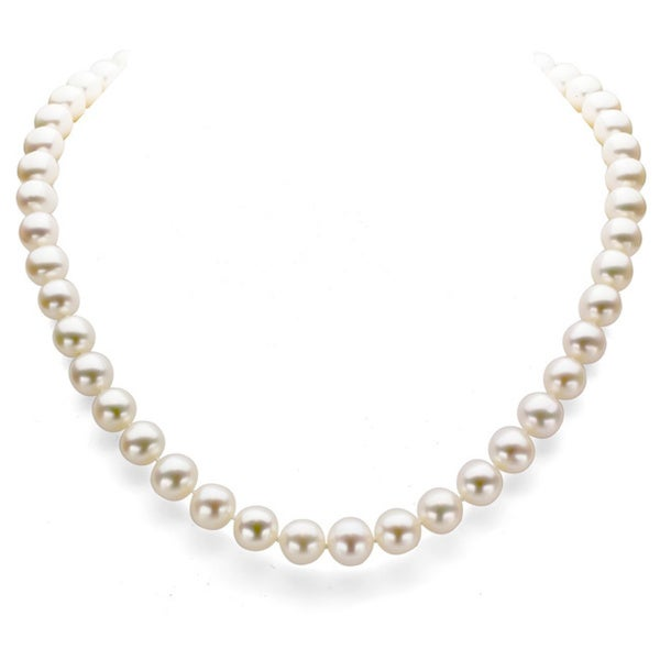 DaVonna 14k Gold White 6.5-7mm FW Pearl Necklace (16 in) with Gift Box