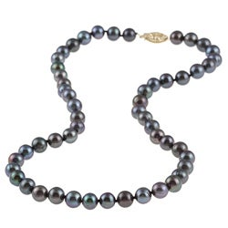 DaVonna 14k Gold Black FW Pearl 16-inch Necklace (6.5-7 mm)