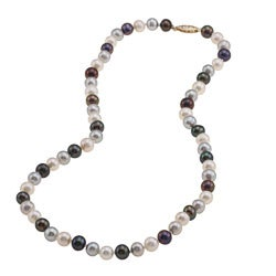 DaVonna 14k Gold Dark Multi FW Pearl 16-inch Necklace (6.5-7 mm)