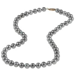 DaVonna 14k Gold Grey FW Pearl 16-inch Necklace (6.5-7 mm)