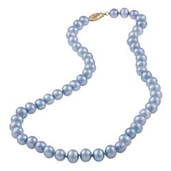 DaVonna 14k Gold Blue FW Pearl 16-inch Necklace (6.5-7 mm)
