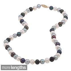 DaVonna 14k 6.5-7mm Dark-Multi Freshwater Cultured Pearl High Necklace (16-36 inches)